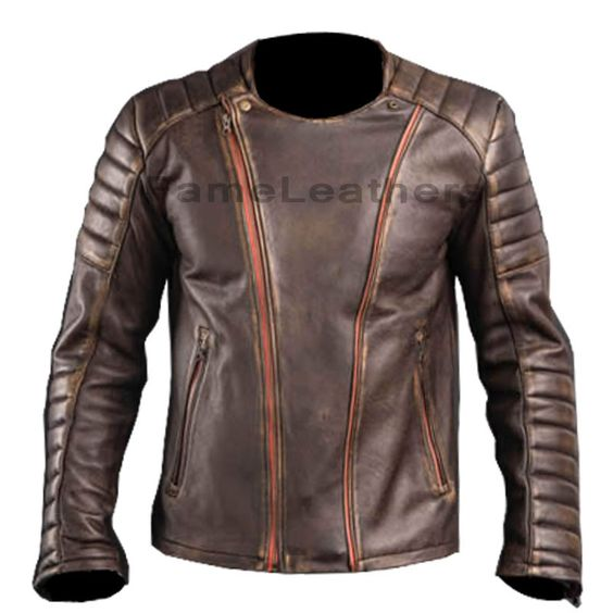 Cafe Racer Brown Motor Cycle Leather Jacket,leather biker jacket ...