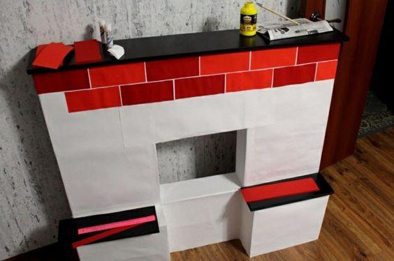 Cheminée en carton, fabrication simple, briques rouges en papier