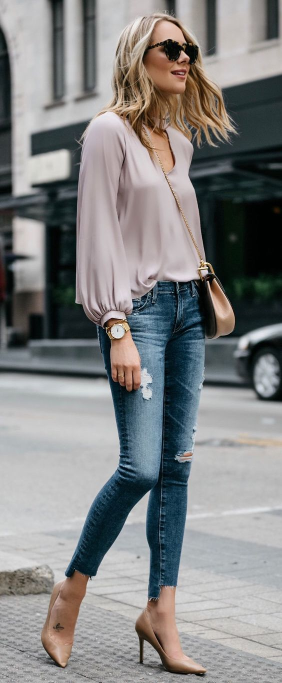 #spring #outfits  Loving This Soft Blush Top For Spring And It's Only $45!
