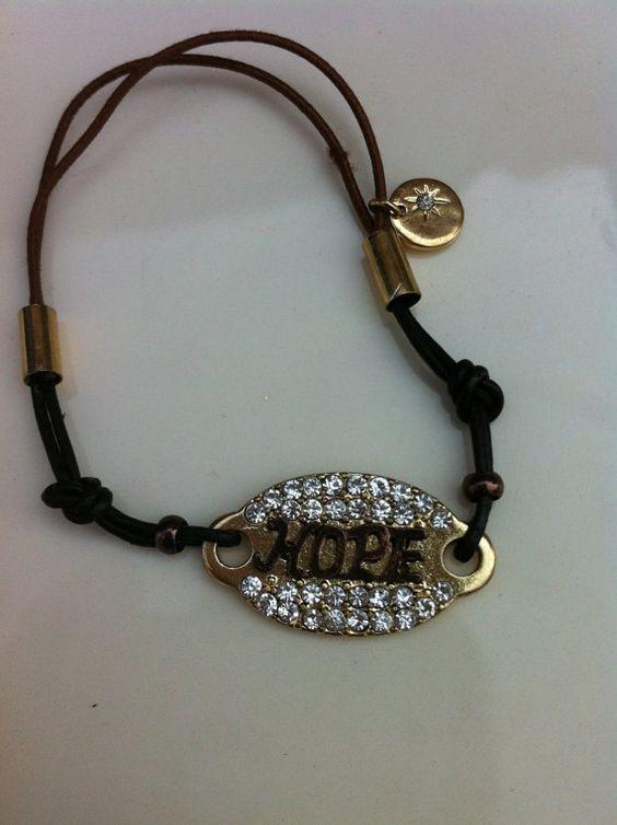 HOPE Inscripted Bracelet with Rhinestone by GlitzGlamourandBling, $12.00