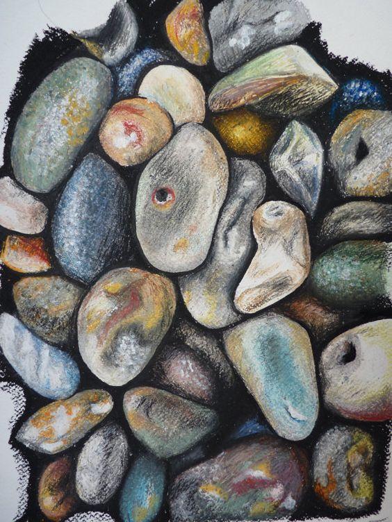 Beach Hues - Pebbles Oil Pastel Drawing - Beach / Seaside Fine Art Print $18