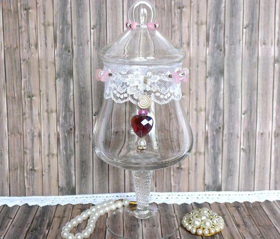 Vintage Shabby Dekoration Retro Glas mit Deckel von LonasART