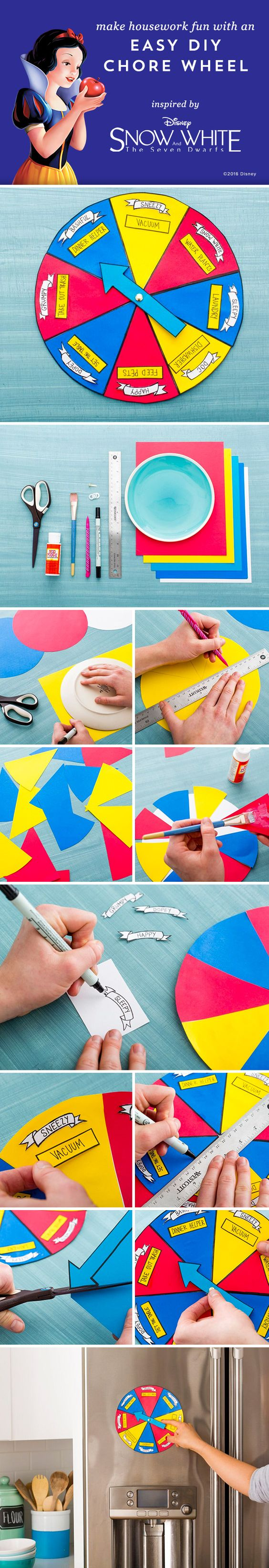Make your own chore wheel inspired by Disney's Snow White and the Seven Dwarfs. A great DIY activity for the entire family to stay organized! Bring the movie home to your family on Digital HD & Disney Movies Anywhere Jan 19 and on Blu-ray Feb 2.