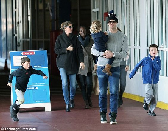 Down time: Tom Brady, wife Gisele and their children were seen at in New York on Saturday,...