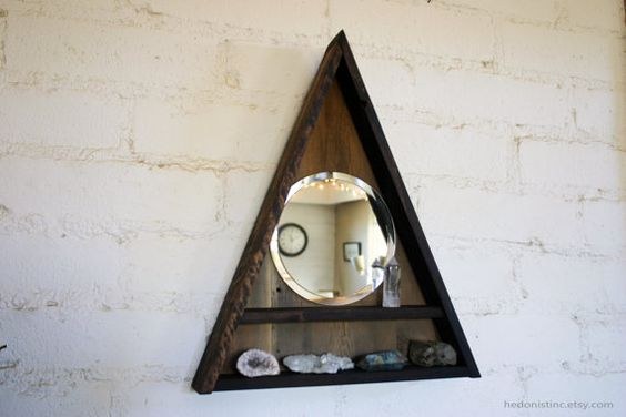 Triangle Shelf Mirror Display // Pyramid Crystal by HedonistINC