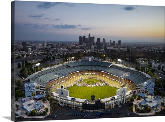 Dodger Stadium And Downtown Los Angeles In 2020 City Skyline Art Dodger Stadium Los Angeles Wall Art