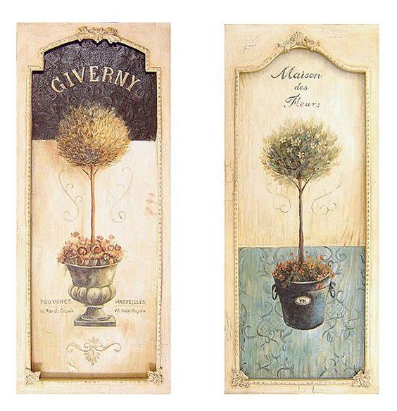 Set quadri legno 61cm alberi piante country cornice shabby for Cornici per quadri shabby chic