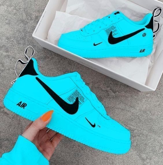 Air Force One X Blue And Black By Waleoficial In 2021 Nike Shoes Blue Nike Air Shoes Nike Shoes Women