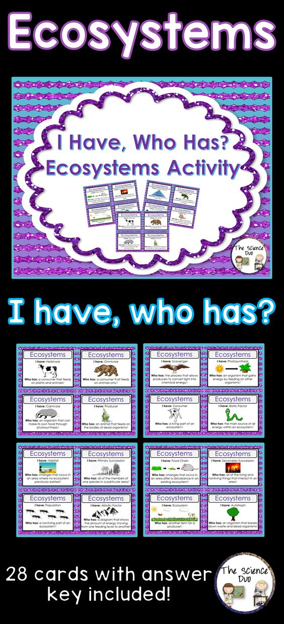"""Ecosystems """"I Have, Who Has"""" Activity. This set is sure to spark interest from all of your learners. This Ecosystems activity includes 28 """"I Have, Who Has"""" statements. Use this with your entire class as review to get all of your students to participate."""