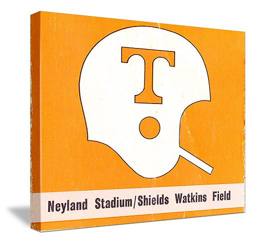 Vintage Tennessee football helmet canvas art. Made from an authentic 1970's Tennessee football ticket. http://www.shop.47straightposters.com/Tennessee-Football-Tickets-Tennessee-Vanderbilt-Tickets_c40.htm