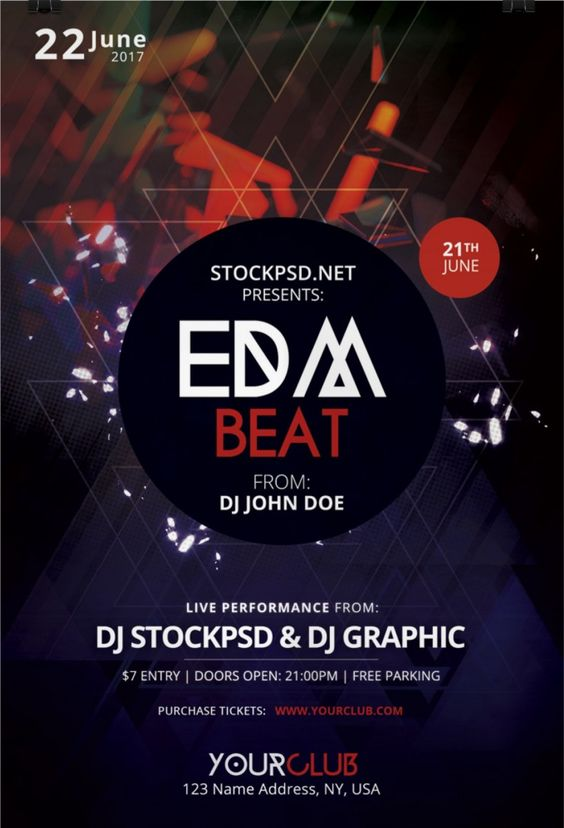 Edm Beat Is A Free Photoshop Psd Flyer Template To Download This