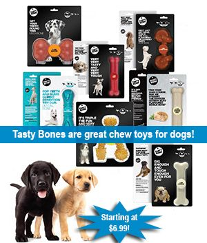 Tasty bones chew toys for dogs starting at $6.99 at J&M Aquatics and Pet Center