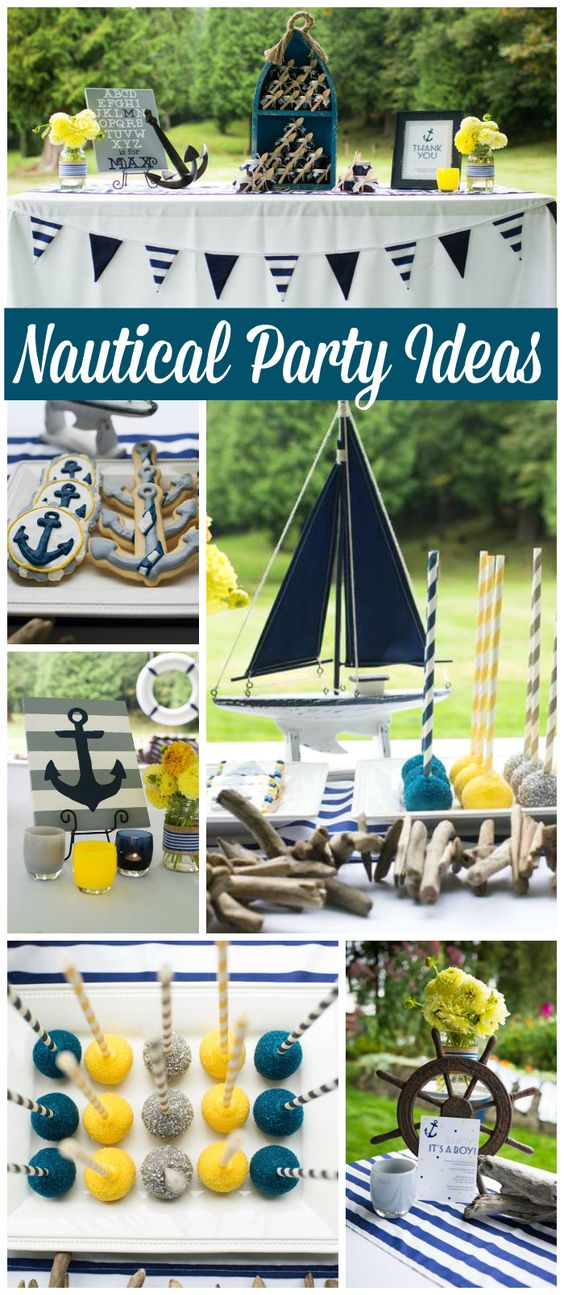 Love this nautical baby shower in navy blue, yellow and gray! See more party ideas at CatchMyParty.com!:
