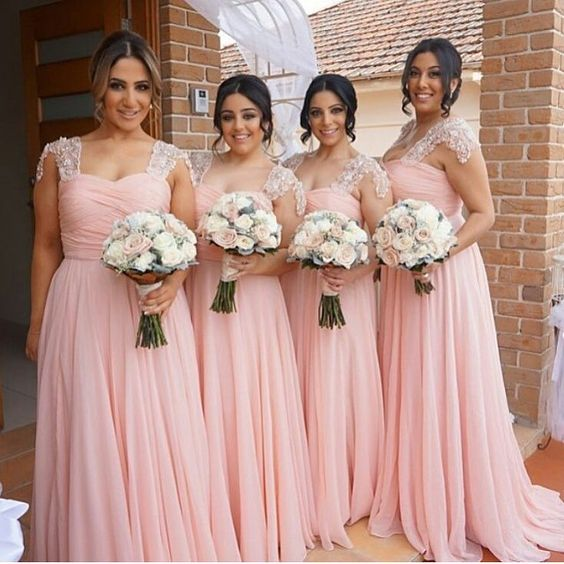 Find More Bridesmaid Dresses Information about Long Pink Chiffon Bridesmaid Dresses with Cap Sleeves Lace Beaded Summer Beach Wedding Guest Wear Party Dress Vestido longo ,High Quality dress life,China dress up games prom dresses Suppliers, Cheap dress checkered from xlbutterfly on Aliexpress.com: