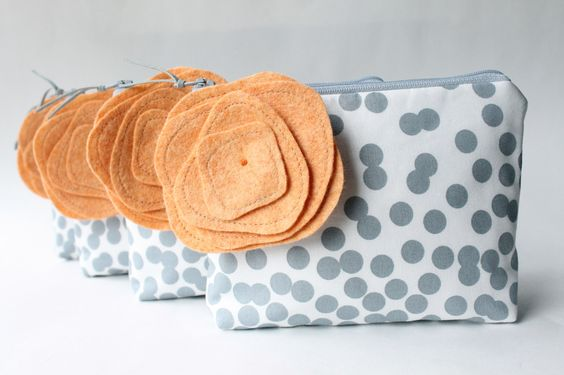 Custom Cosmetic Bags With Flower Brooches, Bridesmaid Gifts, Make Up Bags,  Choose Colors, Set of 4, Grey and Peach. $128.00, via Etsy. #wedding