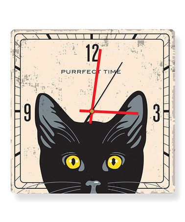 Another great find on #zulily! Black Cat 'Purrfect Time' Square Clock #zulilyfinds