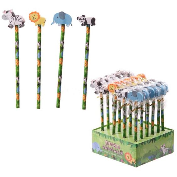 STA22 - Espositore di Matite con Gomme a Forma di Animali della Giungla - Elefante, Panda, Leone, Zebra | Puckator IT  #partybag #kid #idee #compleanno #bambini|