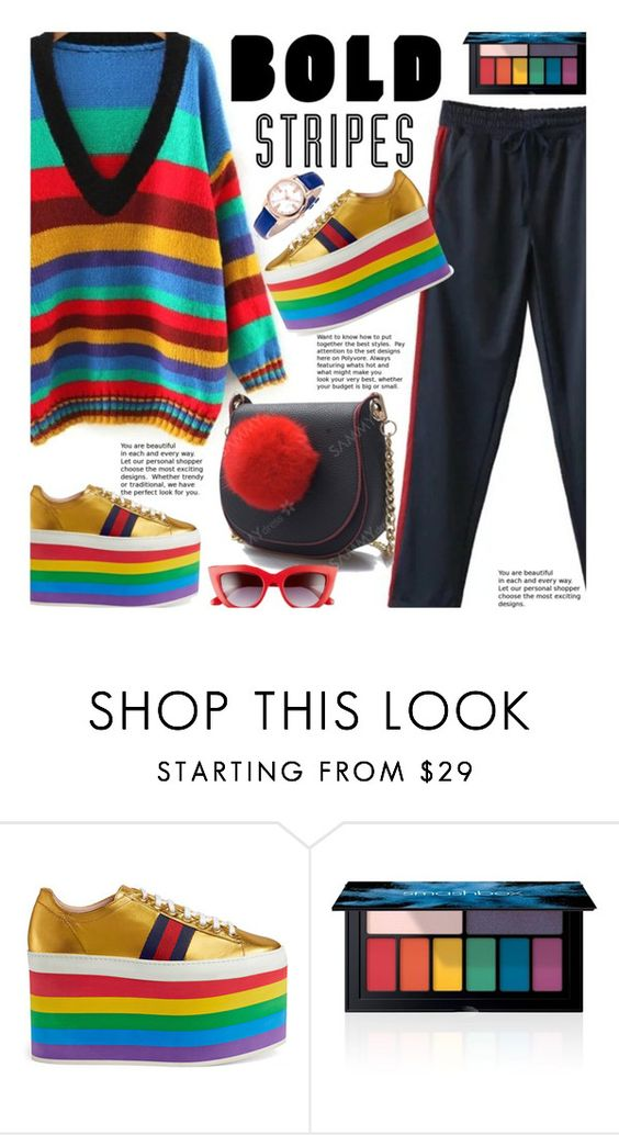 """""""Big, Bold Stripes"""" by beebeely-look ❤ liked on Polyvore featuring Gucci, Smashbox, Perverse, casual, stripes, casualfriday, sammydress and BoldStripes"""