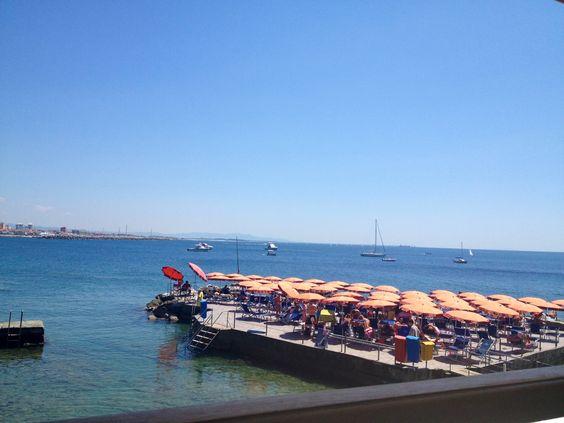 Panorama of the beach club and sea from the beach club's restorante in Castiglioncello
