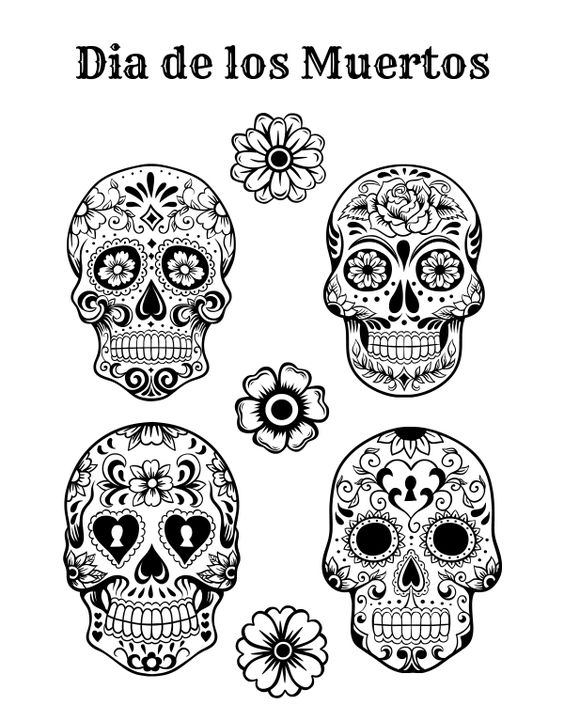 Coloring pages toys and halloween on pinterest for Dia de los muertos skull coloring page