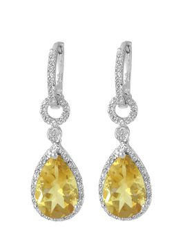 $39.99 - 6 Carat Citrine and 1/10 Carat Diamond Earrings in Silver