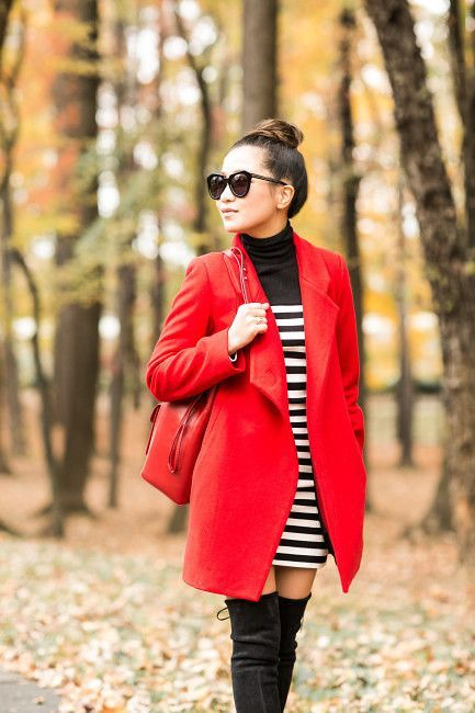 Autumn Colors :: Red coat & Striped dress