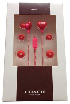 Coach TWO PIECE SET Limited Edition Adorable Pink and Red Heart Earbuds & Ashley Dot Op Art Small Khaki Aegean Wristlet