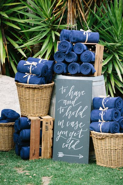 """Modern calligraphy wedding chalkboard sign idea - """"To have and to hold in case you get cold"""" {Lovers of Love Photography}"""