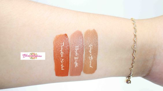 Hand Swatches Lip Coat BLP Beauty terbaru (L-R): Pumpkin Sorbet, Maple Waffle & Ginger Bread