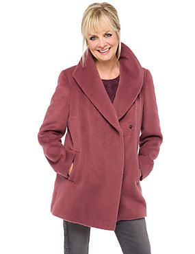 Collared Neck Car Coat with Wool