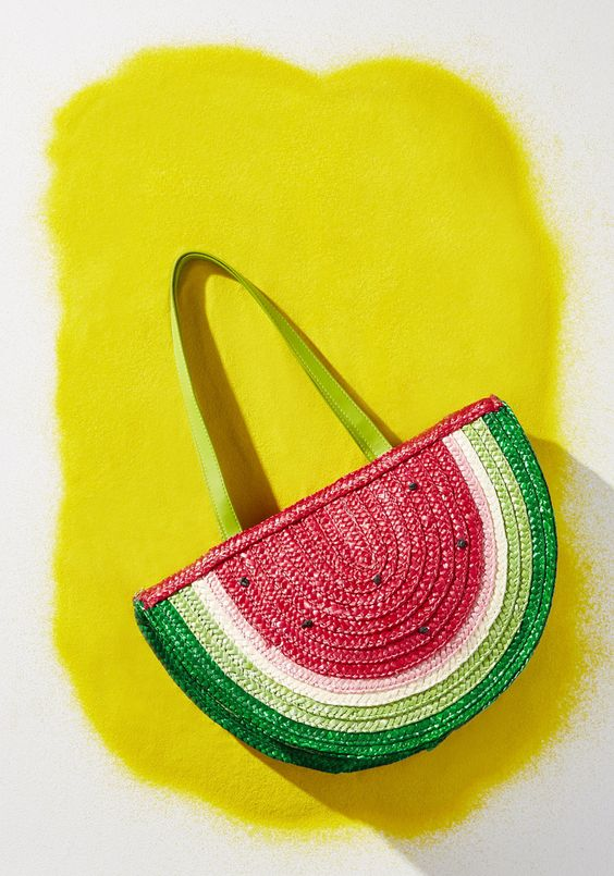 fun watermelon slice beach bag