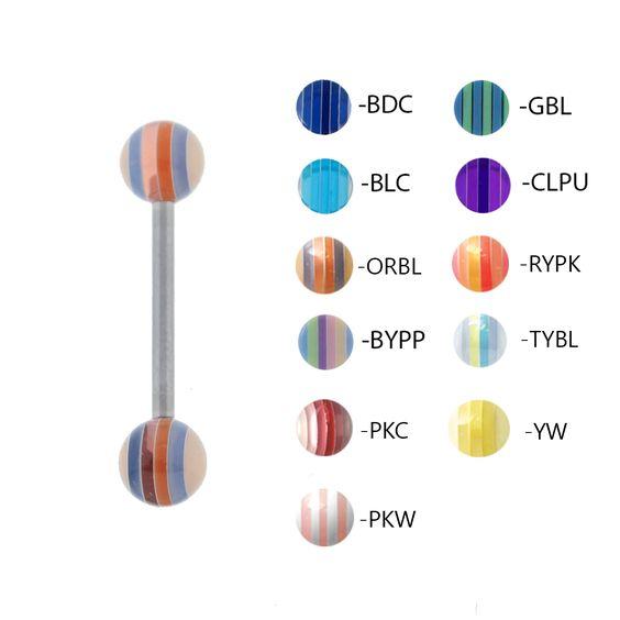 Acrylic UV Sensitive Striped Barbell- Lex and Lu Body Jewelry
