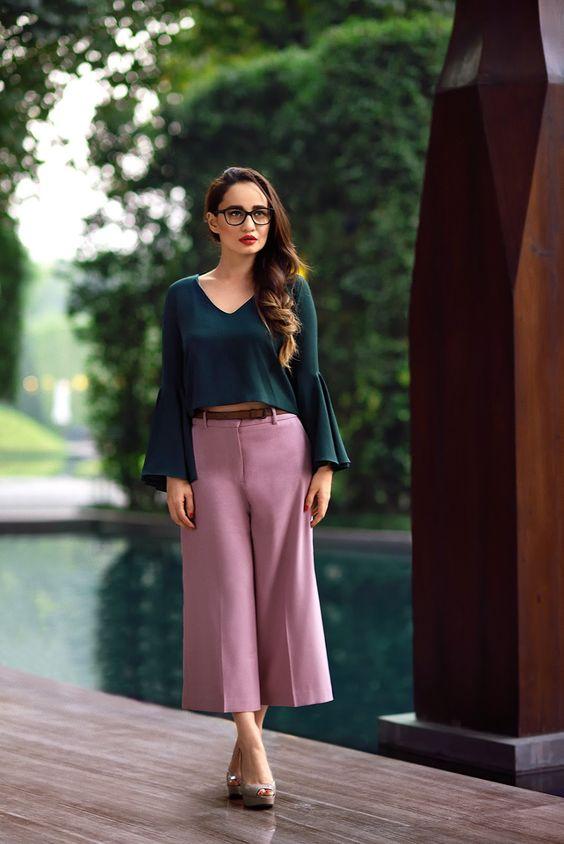 Vogue Eyewear,Zara Bottle Green Crop Top with bell sleeveless, Zara blush pink culottes