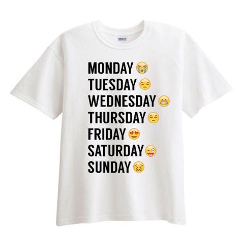 Monday thru Sunday Emoji White T shirt - Fresh-tops.com