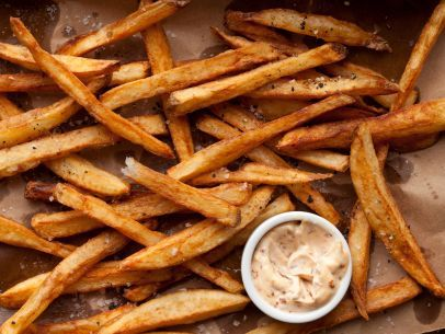 Guy's perfectly crispy Double-Fried French Fries: Fried French, Guy Fieri, Side Dishes, Double Fried, Food Network/Trisha, Fieri Food, Food Recipe, French Fries Recipe