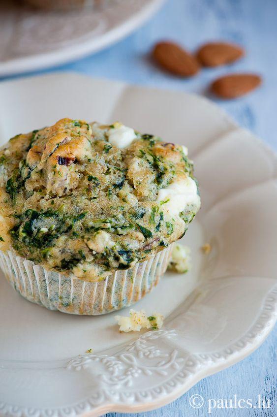 Spinat-Ricotta-Muffins mit Feta und Mandeln (von paules ki(t)chen)