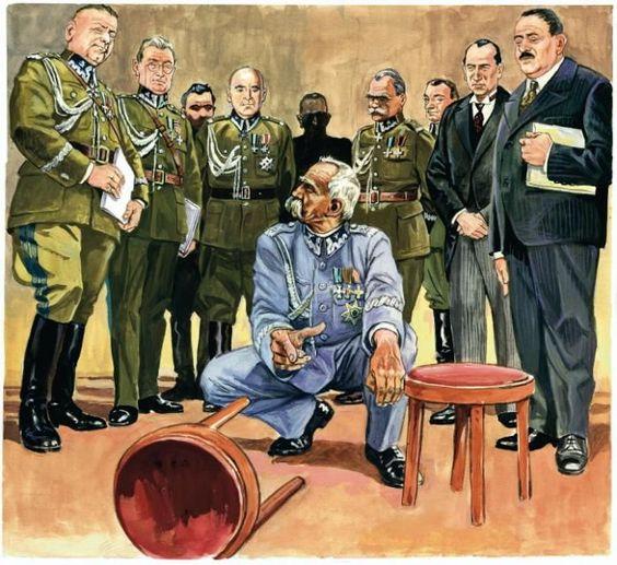 Artystyczna wizja słynnej sceny z udziałem najwyższych rangą generałów i szefów dyplomacji polskiej, kiedy Marszałek porównywał pakty z Sowietami i Niemcami do dwóch stołków