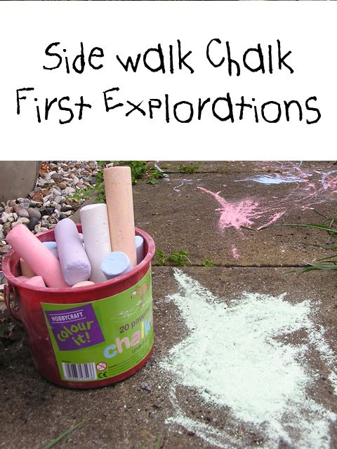 Play Outdoor: Chalk linky with first explorations and experiences with chalk