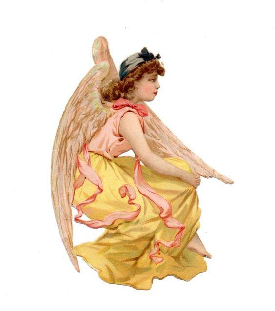 Alte Oblate Glanzbilder Scraps schöner Engel  ... 14cm: