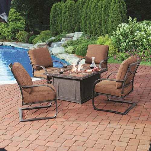 BJ's Wholesale Club ~ Living Home Outdoors Caminetto 5-Piece Gas Fire Pit Chat Set    Made from durable rust-free aluminum with a multi-step finish, the 4 chairs and gas fire pit bjs.com