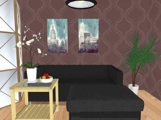 3d Floor Plan For A Contemporary Style Living Room Eco Wallpaper Hardwood Flooring Big Comfy