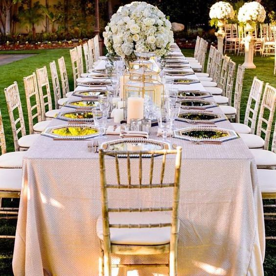 Elegant outdoor champagne-colored tablescape - love the octagonal charger plates! ~ Wildflower Linen