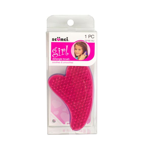 The Scunci Girl Detangle Brush, shaped like a cute heart and is designed especially for mini hands to hold. The mini brush massages the scalp to gently remove knots without the pulling and tugging of a normal hairbrush. It's perfect on all hair types and can be used on wet or dry hair.  http://www.scunci.com.au/ByRange/girl.aspx