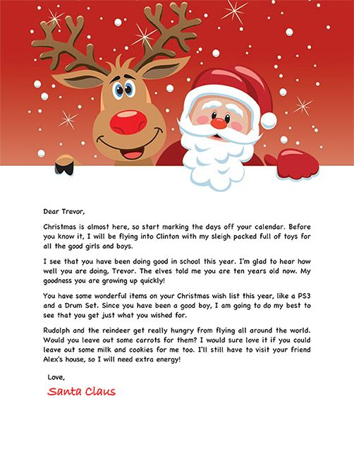 Santa Letter Example Personalized Letters From Santa Santa Letter Template Santa Template Free Letters From Santa