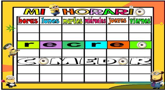 Horarios escolares en formato editable y tutorial de como hacerlos