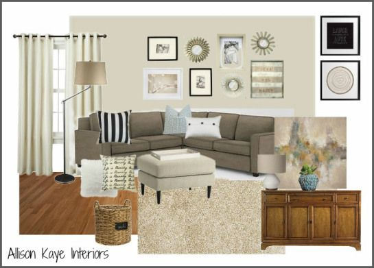 Fun And Fresh Living Room E Design Moodboard Benjmain Moore Edgecomb Gray On Walls Taupe Sectional With Patterned Pillows Gallery Wall