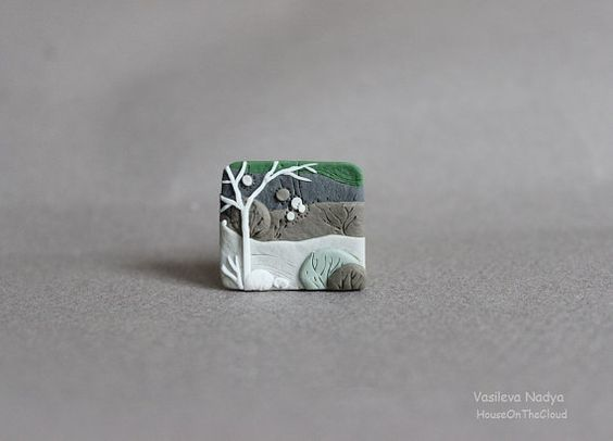 Brooch landscape miniature nature polymer clay by HouseOnTheCloud