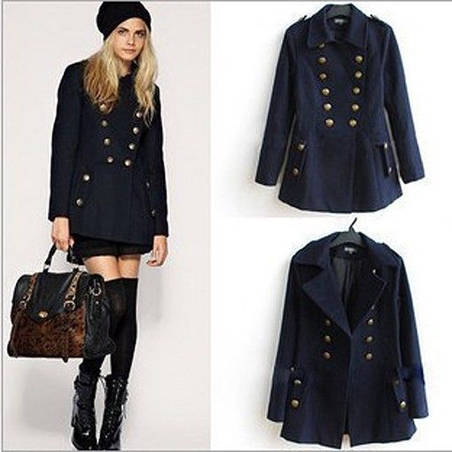 Details about Womens Fleece Trench Coat Navy Blue Midi Double