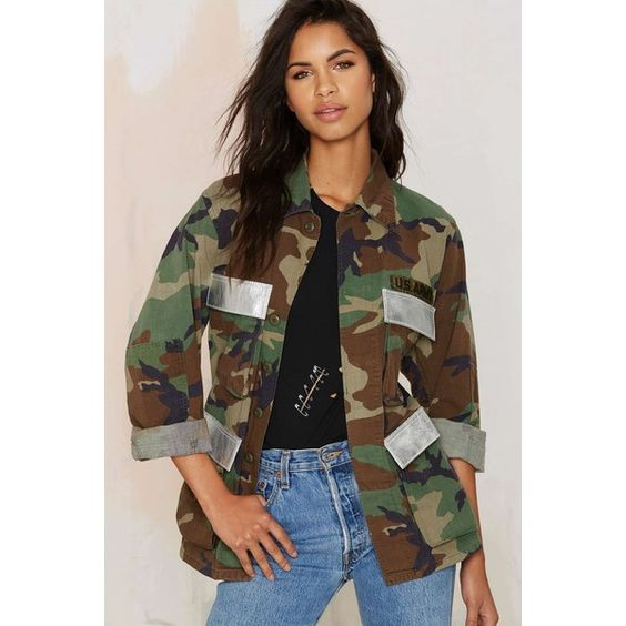 After Party Vintage Troop Nasty Army Jacket (£46) ❤ liked on Polyvore featuring multi i american vintage