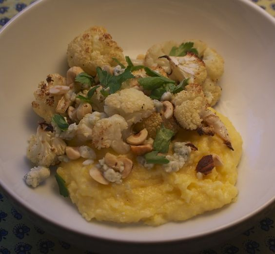Roasted Cauliflower Polenta--excellent and easy meatless meal.